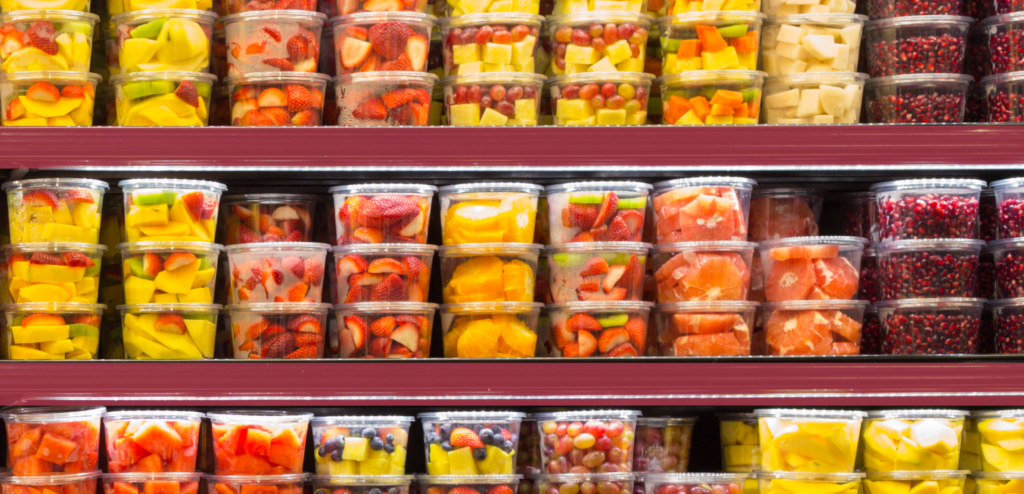 plastic fruit containers in supermarket